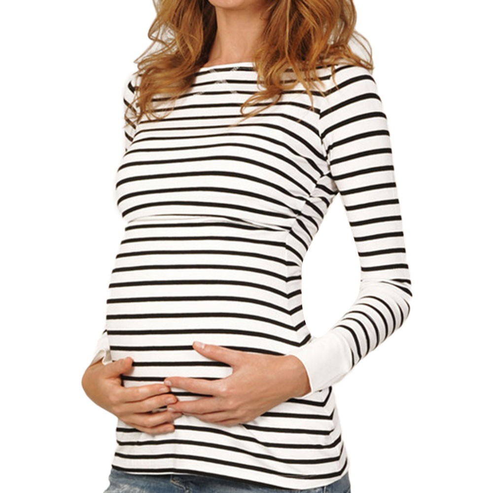 LONSANT Maternity Blouse Women Maternity Long Sleeved Stripe Tops Mother Pregnant Nursing Baby  Blouse Women Fashion Clothes(China)