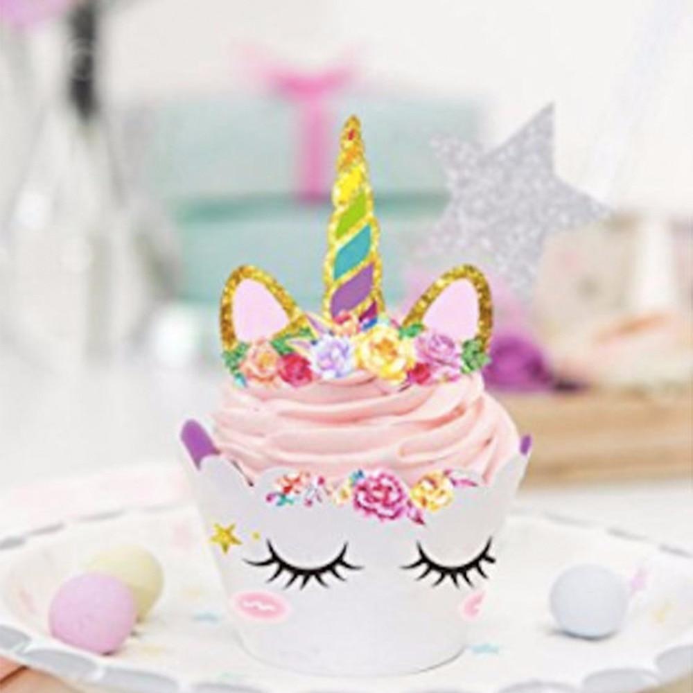 Aliexpress Buy Yoriwoo 24pcs Rainbow Unicorn Cupcake Cake