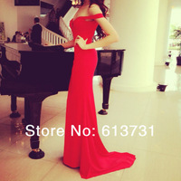 Hot & Sexy 2014 Sweetheart Mermaid Red Prom Dresses Off The Shoulder Chiffon Long Evening Gown With Train