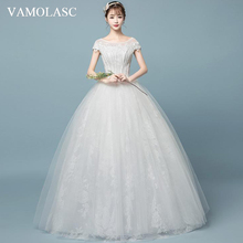 VAMOLASC Illusion O Neck Beading Ball Gown Wedding Dresses Lace Appliques Short Cap Sleeve Backless Bridal Gowns
