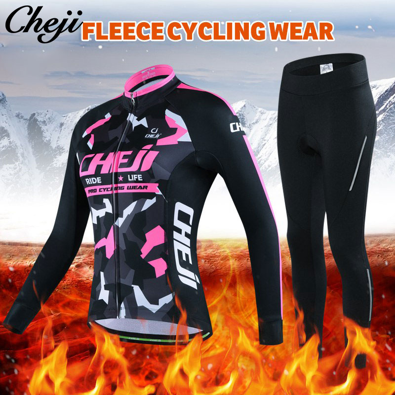 New Cheji Fleece Cycling Jersey Sets Women Winter Pro Long Cycling Clothing Bicycle Clothes High Quality Cylce Clothes China black thermal fleece cycling clothing winter fleece long adequate quality cycling jersey bicycle clothing cc5081