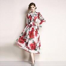 PADEGAO 2019 New Style Women'S High-End Chiffon Print Women's Dress Temperament Bell Sleeve Long Zipper Summer Plus Size Dress