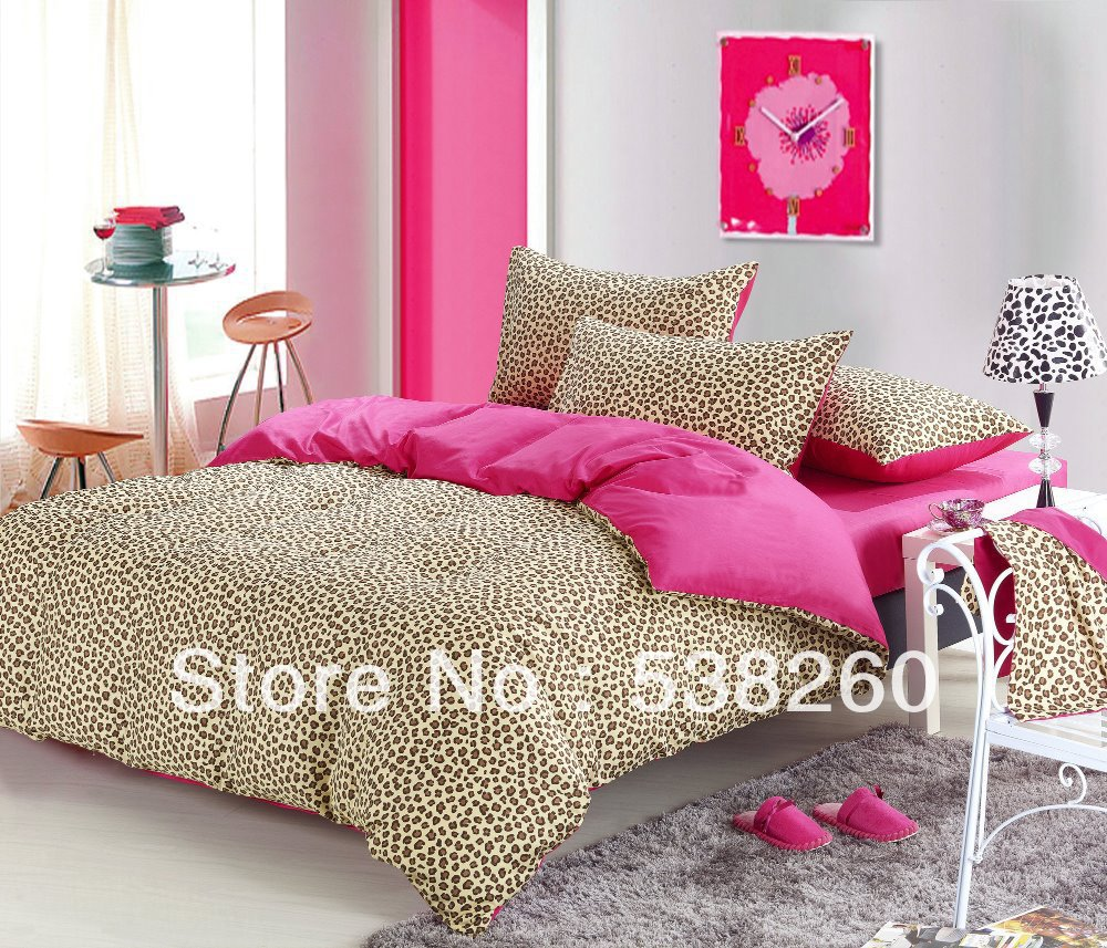 Pink leopard print bedding - Online Shop Free Ship High Quality Cotton Bedding Leopard Print Comforter Set Queen King Size Fresh Japan Style Aliexpress Mobile