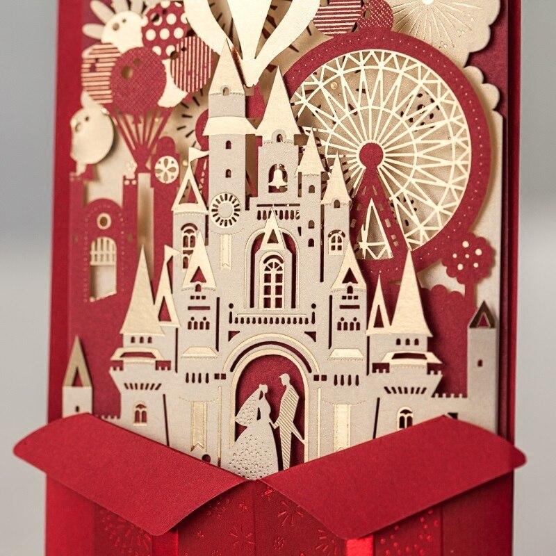 Elegant Pop up 3D invitation card Laser cut Gold Red foil Wedding ...
