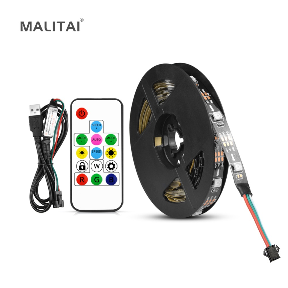 US $3 1 30% OFF DC 5V USB LED light RGB 5050 SMD Built in WS2812B IC  Individually Addressable Pixel LED Strip Dream Color Neon lamp Backlight-in  LED