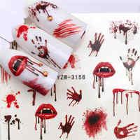WUF 1 PC diseños de Halloween calcomanías de agua tatuajes de calavera Sliders para la transferencia de agua de manicura envolturas para decoración de puntas