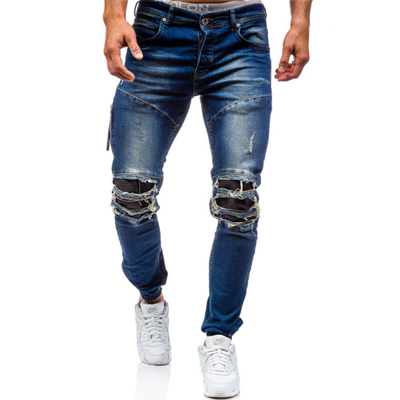 2019 new style men's casual boutique hole jeans / Man's vintage worn jeans denim trousers