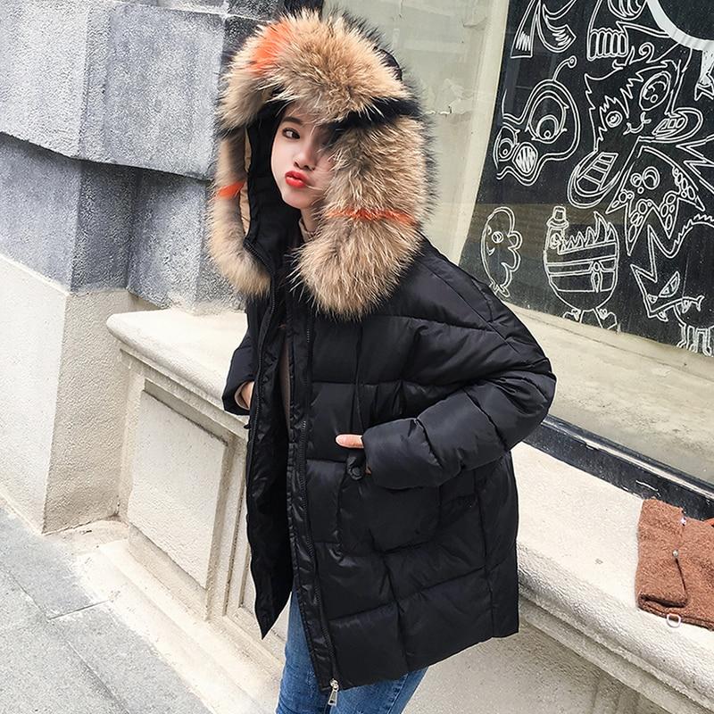 Long blanc Mince D'hiver Chaud Veste jaune Femmes Style 2018 Capuchon Mode Fourrure Grand Parkas Col caramel De Coloré Noir Pain Épais Manteau À OZRPf1
