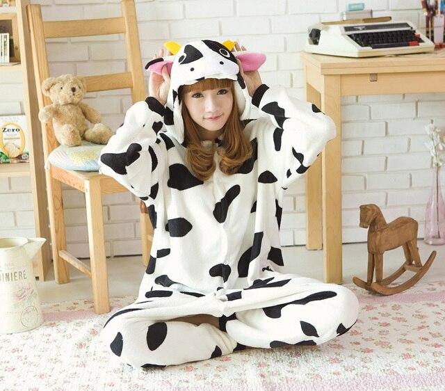 Мода коровы молока Косплэй костюм для взрослых Косплэй пижамы Для женщин  Пижама зима пижамы Толстовки вечернее 17d9ee7e0fda8
