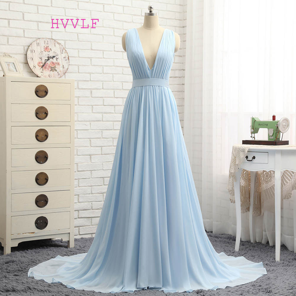 HVVLF 2019 Formal Celebrity Dresses A-line Deep V-neck Sweep Train Chiffon Sky Blue Backless Famous Red Carpet Dresses