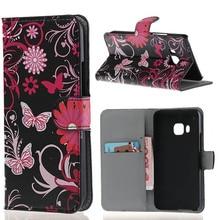 Rosa borboleta flor de impressão carteira de couro Flip capa bolsa caso para HTC um M9 2015