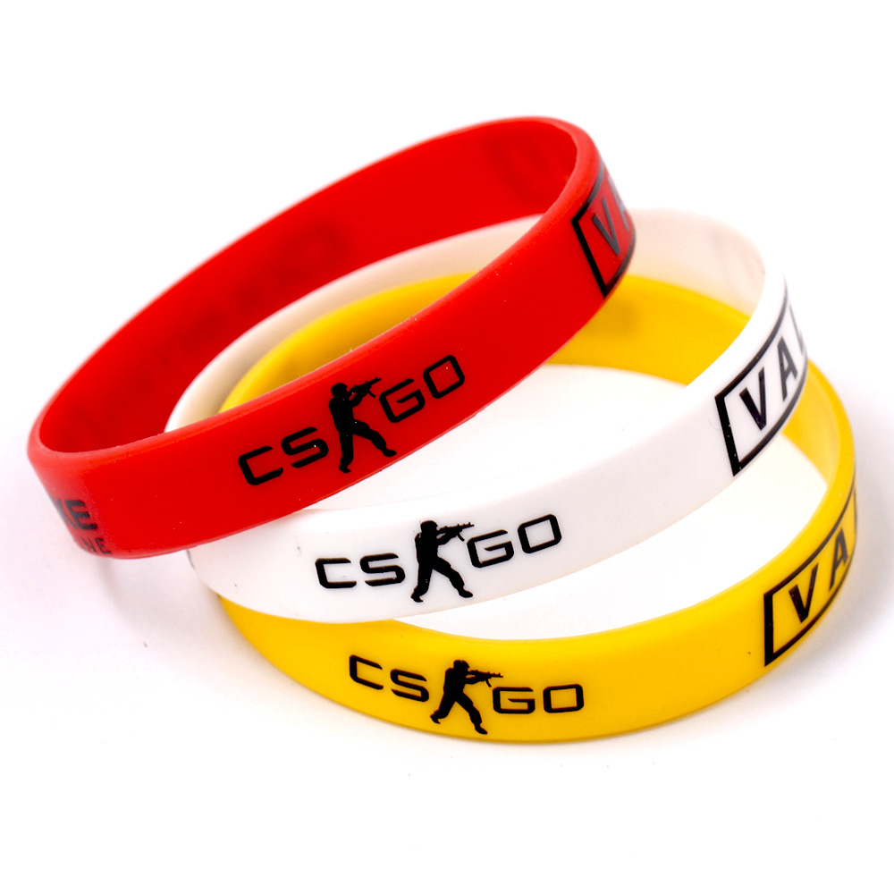 Red Yellow White Anime Games CS GO Sport Male Wristband Friendship Rubber Silicone Bracelets Men Jewelry For Women Best Friends image