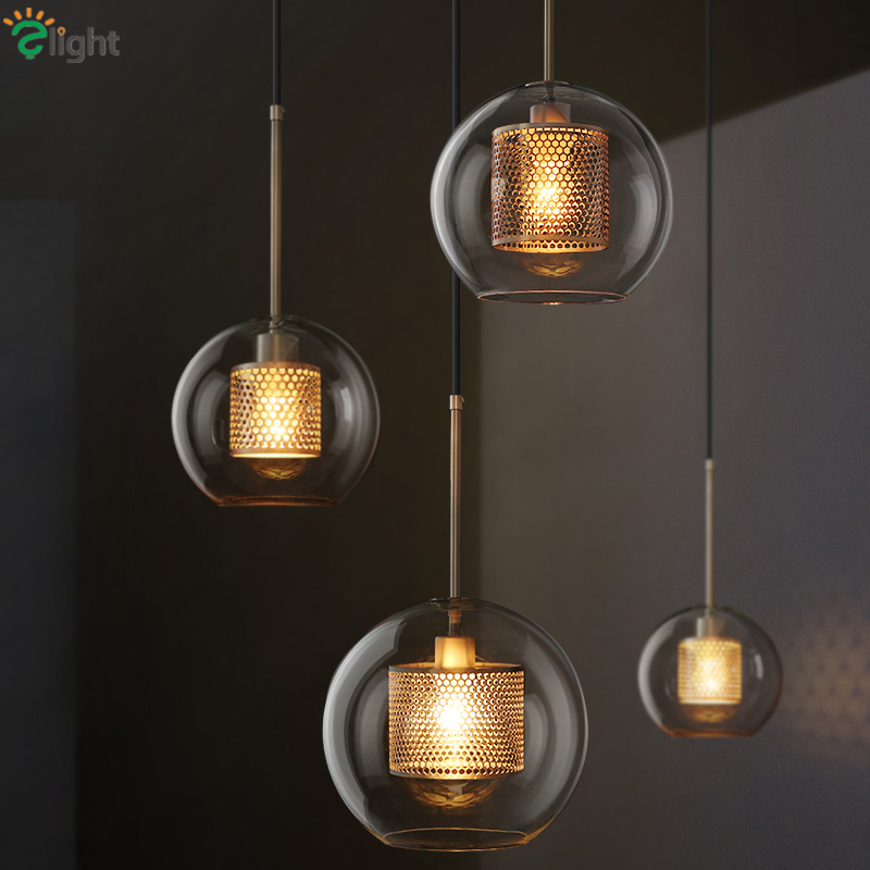 Loft Retro Hollow Metal Lustre Led Pendant Lights Clear Glass Globe Hanging Lamp Dining Room Droplight Indoor Lighting Lamparas