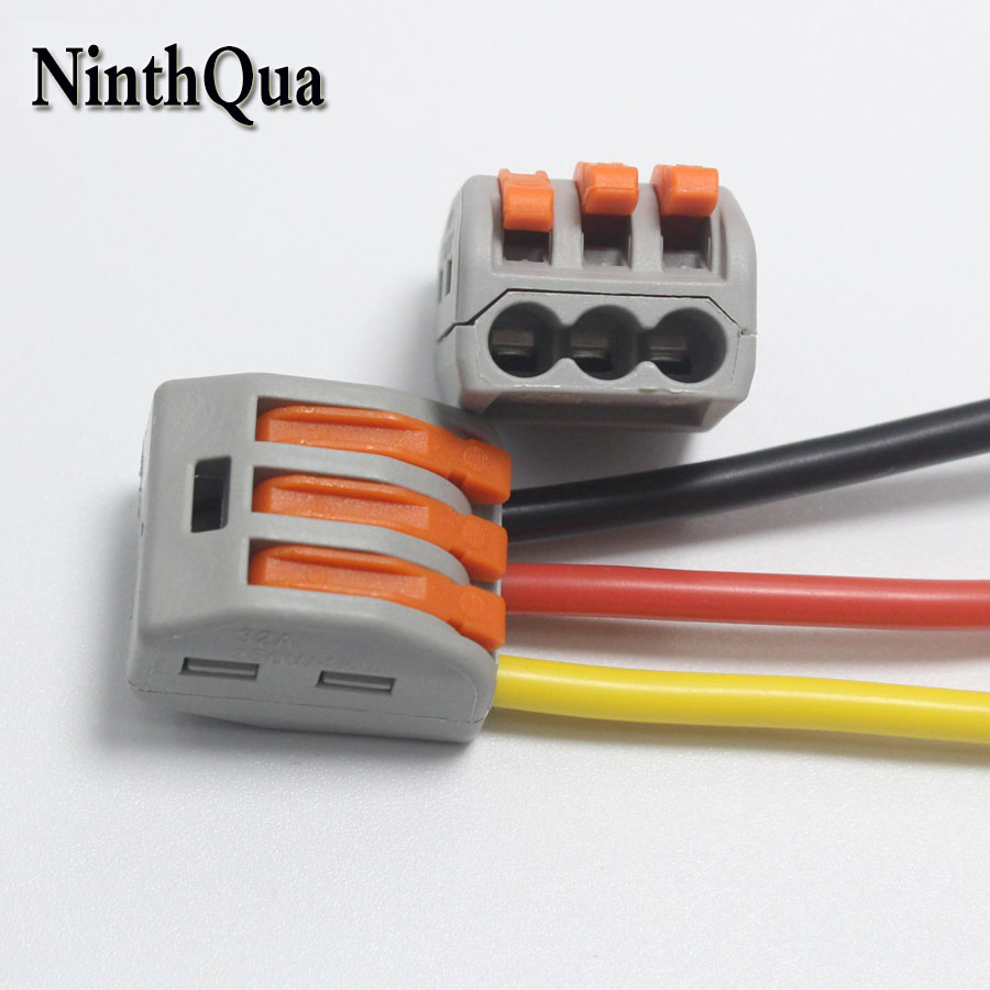 NinthQua 2pcs 3Pin Universal Wire Quick Connector 32A / 250V Terminal Splitter for 28AWG-<font><b>13AWG</b></font> <font><b>Silicone</b></font> <font><b>Cable</b></font> image