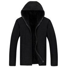 Abrigo cálido grueso informal de lana con capucha para hombre, abrigo masculino de terciopelo con capucha, cárdigan con cremallera, ropa para hombre 2020