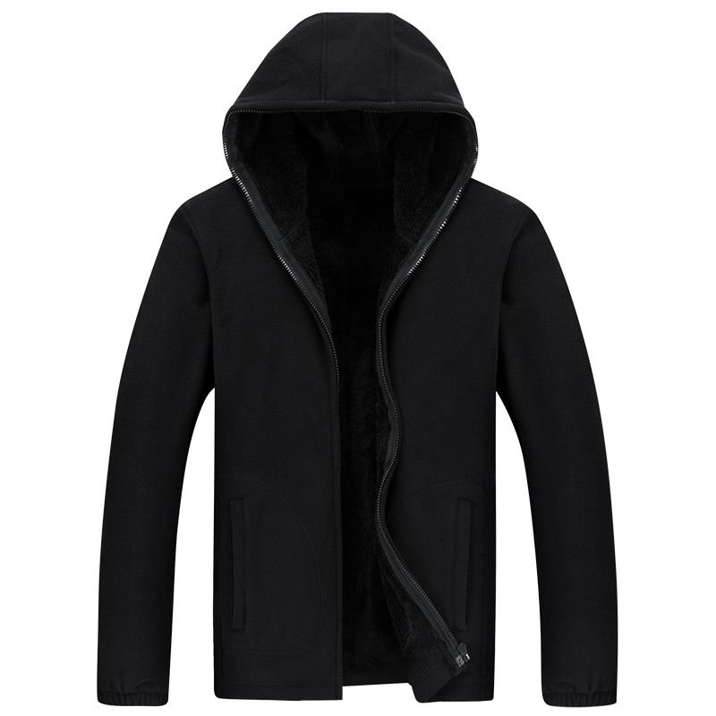TIEPUS Men Hooded Casual Wool Winter Thickened Warm Coat Male Velvet Male Sweatshirts Coat Zipper Cardigan Hoody Man Clothing