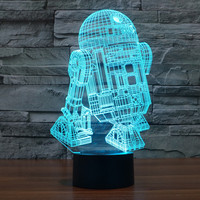 USB Novelty 7 Color 3d Lampara Night Light Star Wars R2D2 Robot LED Touch Lampara As