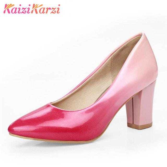 4f5272995 KaiziKarzi Ladies High Heel Shoes Women Pumps New Thick High Heels Pointed  Toe Shoes Women's Mixed Color Footwear Size 32-43