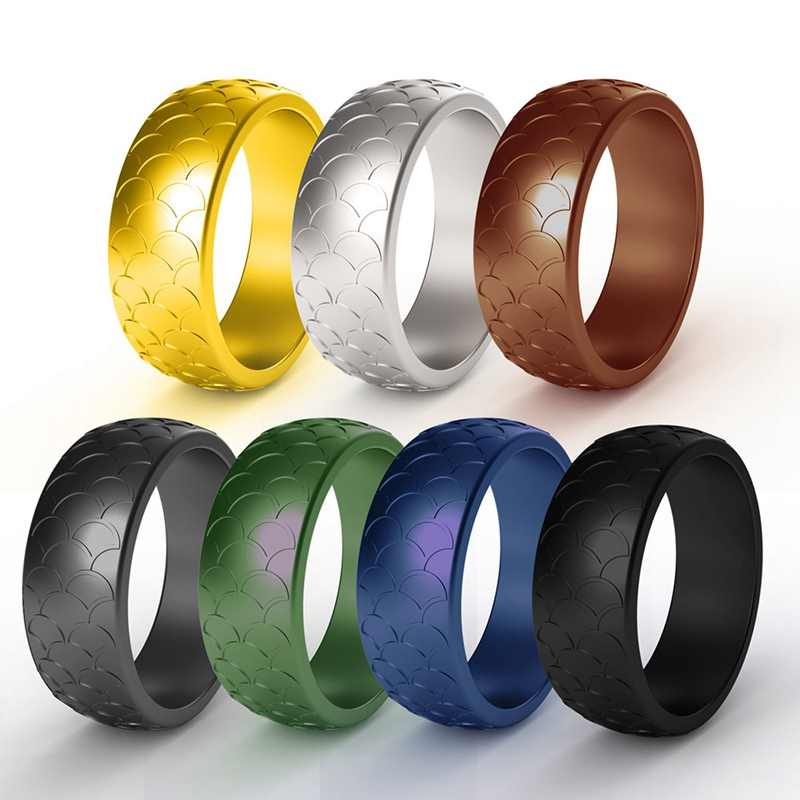 7pcs/set Hypoallergenic Environmental Silicone Ring 8.7mm Fish Scale Pattern Sport Rubber Rings for Office Women Men Size 7-14
