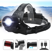 Asafee XPH50 LED Headlamp Zoomable Headlight High Power Flashlight Hunting Head Torch Light 18650 Rechargable Head Lamp