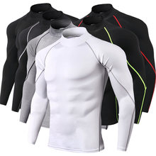 Nieuwe Quick Dry Running Shirt Mannen Bodybuilding Sport T-shirt Lange Mouw Compressie Top Gym t-shirt Mannen Fitness Strakke rashgard(China)