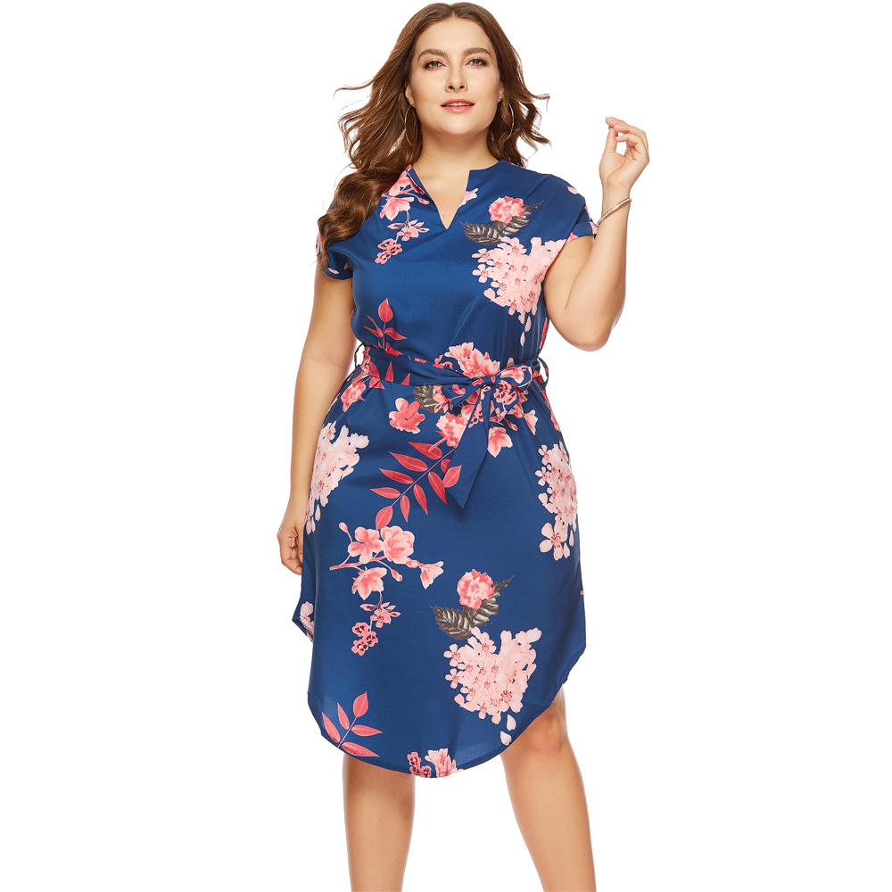 US $11.57 50% OFF|Wipalo Fashion Women Plus Size Dresses Summer Casual Long  V Neck Short Sleeve Flower Print Loose Dress Vestidos Women Big Size-in ...