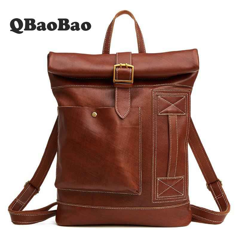 Europe New Mochila Masculina Large Capacity Cowhide Backpack Fashion Casual Leather Men Bags Travel Crazy Horse Leather Man Bag aetoo new front cowhide retro leather shoulder bag men travel backpack europe and the united states crazy horse leather