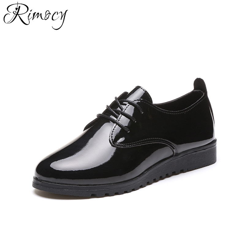 Rimocy lace up Leather Flat Shoes For Women 2017 autumn winter casual white Loafers flats Round Toe solid pu Muffin Shoes woman