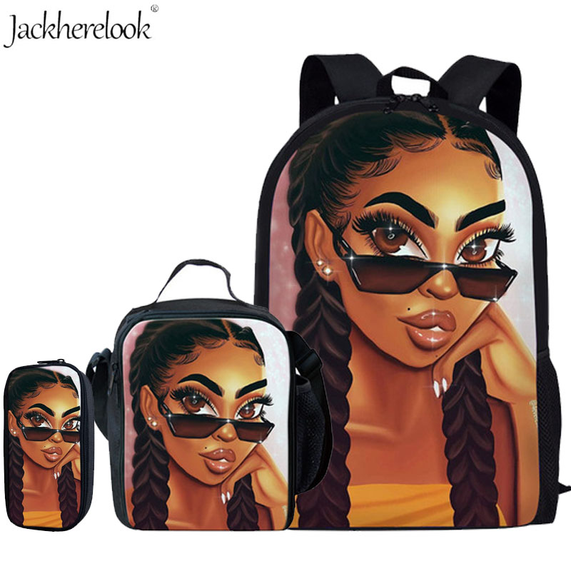 3cs/set School Bags for Kids Black Art African Girl Printing School Backpack Girls Children
