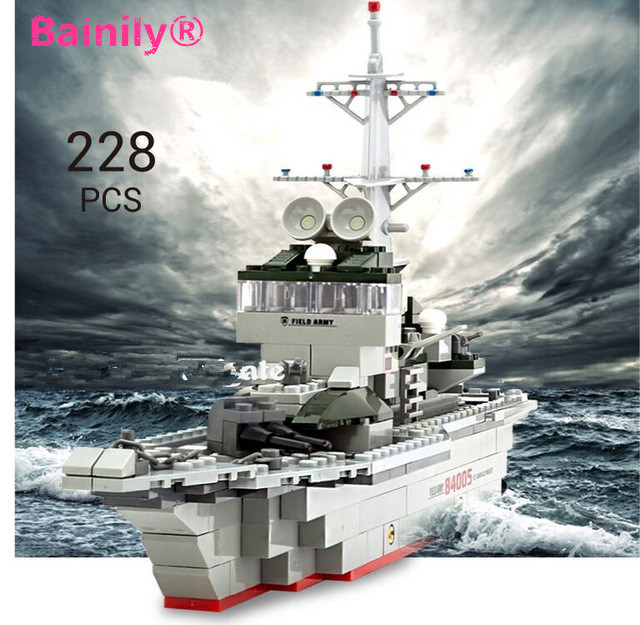 [Bainily]228pc Military Ships Building Blocks Set Warships Model Technic Designer Gift Toys City Compatible With LegoINGly City kazi 228pcs military ship model building blocks kids toys imitation gun weapon equipment technic designer toys for kid