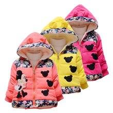 43735e7f34a Куртки для маленьких девочек 2018 осень зимняя куртка для девочек Минни  пальто с капюшоном детская одежда Детская теплая верхняя.