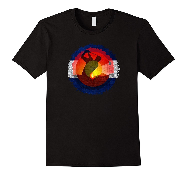 2018 New Summer Slim Tee Shirt Colorado Flag T-Shirt Golfing Design