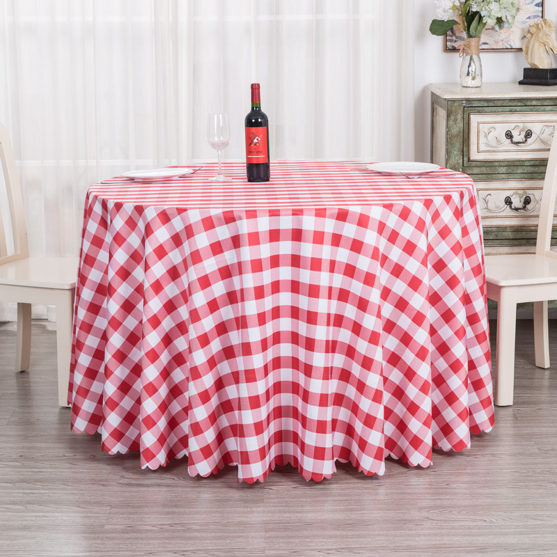 Modern Plaid Round Table Cloth Cover Polyester Tablecloth