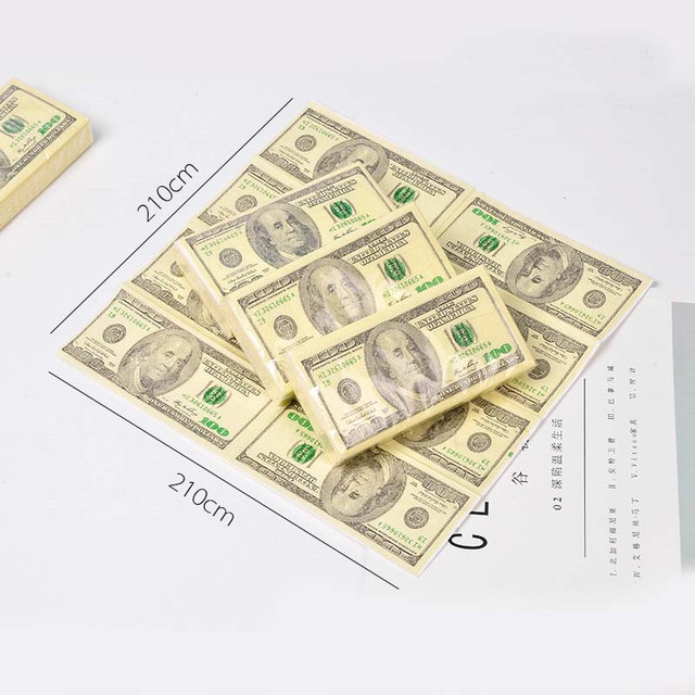 10 Pcs/Set Creative Funny 100 Dollars Money Printed Paper Napkins Thick 3 Layers Toilet Bath Pocket Tissue Paper Party Supplies 3
