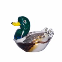 colorful duck Figurine crystal Statuette Home Decor Glass Art Ornament Sculpture Gift Animal Craft For Home desk Office decor