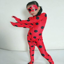 купить Free shipping Children's Halloween cosplay costume adult play ladybug reddy girls' skintight jumpsuits anime performance costume по цене 1054.47 рублей