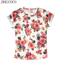 JKKUCOCO Chinese Style Peony Flowers Nice Shirt Women T Shirt Short Sleeve O Neck Summer Tees