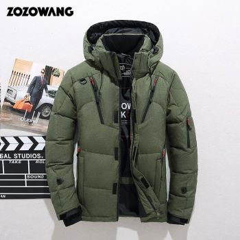 ZOZOWANG Duck Down Jacket Men Thicken Hooded Long Sleeve Blue Down Zipper Pocket Coat Warm Feather Winter Men Down Jacket drawstring waist letters embroidered multi pocket hooded long sleeves thicken coat for men
