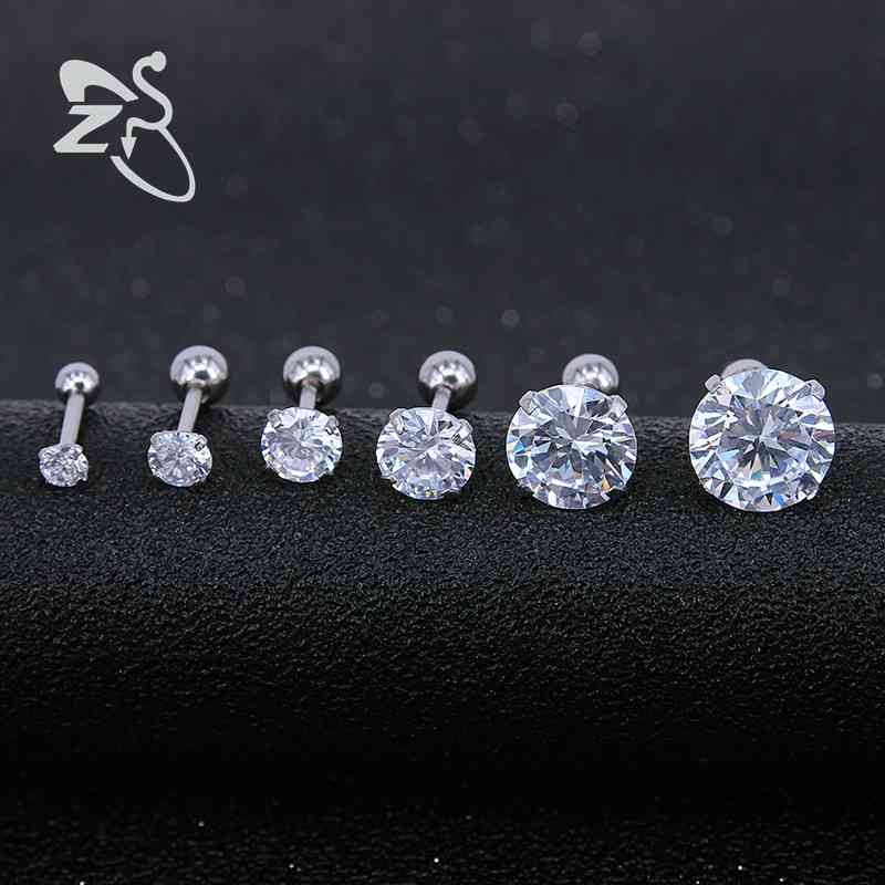 ZS 6pairs/lot Stainless Steel Earrings for Women Stud Earrings Piercing Cartilage Round Crystals Stud Earrings Children Brincos