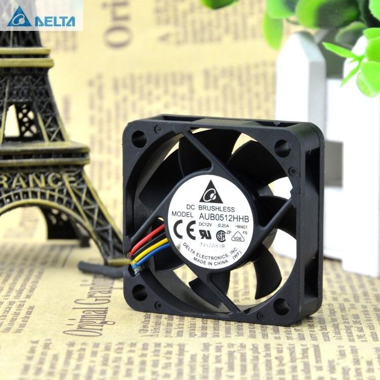 For Delta  AUB0512HHB DC12V 0.2A W401 5CM 5015 Server Cooling Fan 50x50x15mm Pwm 4Pin