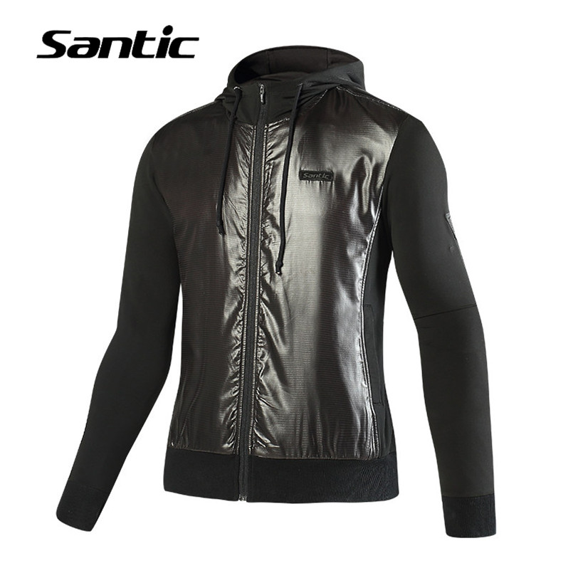 Santic Autumn Winter Cycling Jacket Bicycle Outdoor Fleece Warm Windproof Downhill MTB Jacket Hooded Mountain Road Bike Jacket santic cycling pants road mountain bicycle bike pants men winter fleece warm bib pants long mtb trousers downhill clothing 2017