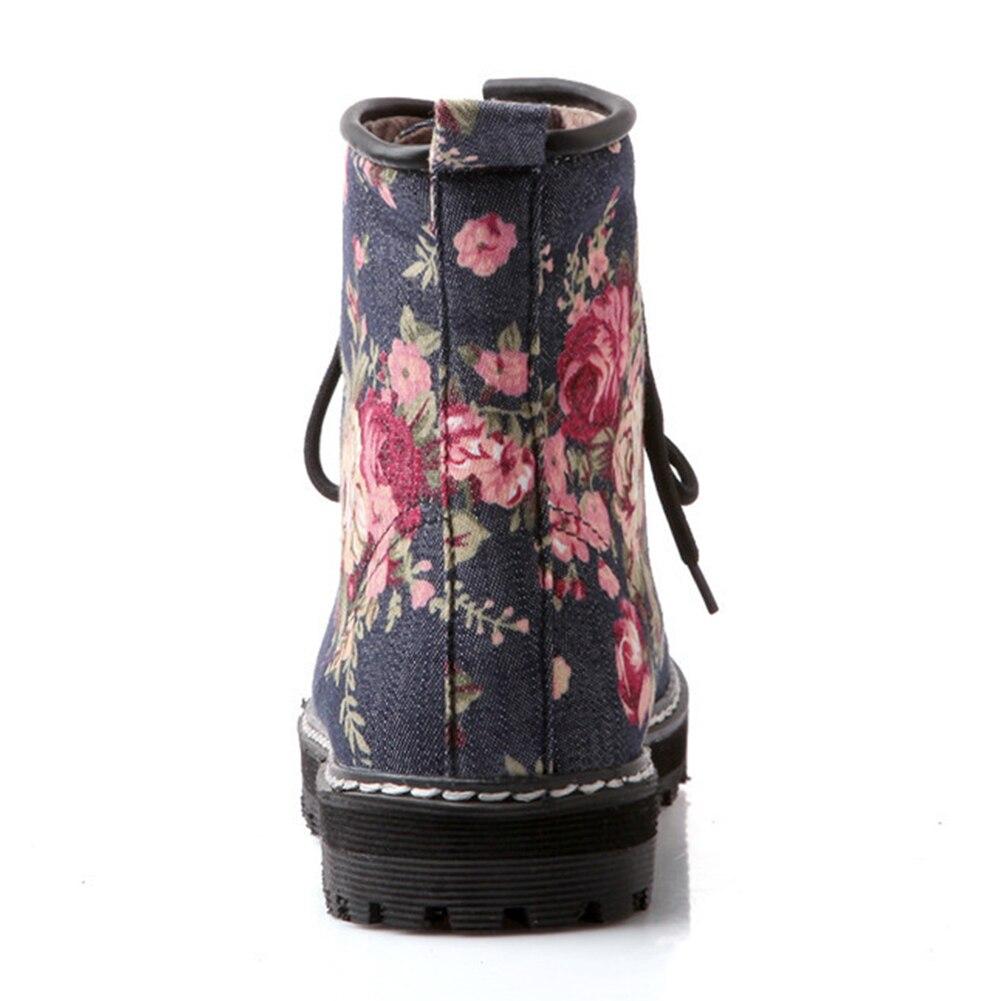 Cheville Chaussures Point Conception Marque Bottes Taille Lace Karinluna 34 Couleurs 43 Grande Lighe dark Fleur Casual Up Hiver Blue Mélangées Femme Blue hQdtsrC