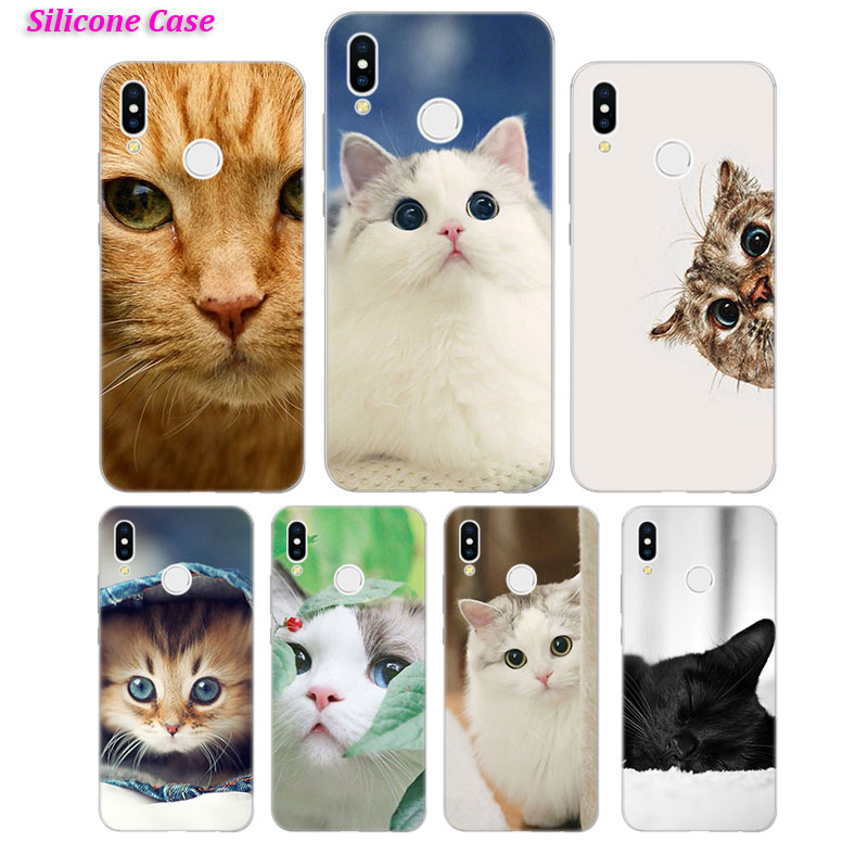 Silicone Case Curious Cat Sneaking Up for Huawei Nova 3 4 Honor 7C 7A 8 8X 9 10 Y5 Y6 Y7 Y9 V20 Lite Pro 2019 2018 Cover in Fitted Cases from Cellphones Telecommunications