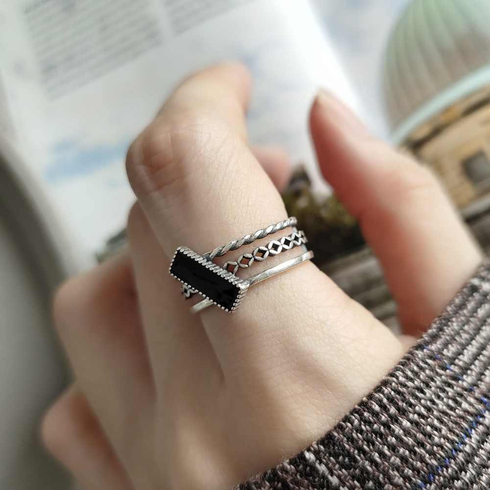 Retro Authentic S925 Sterling Silver FINE Jewelry glaze three layers line with Rectangle black enamel ring adjust TLJ587