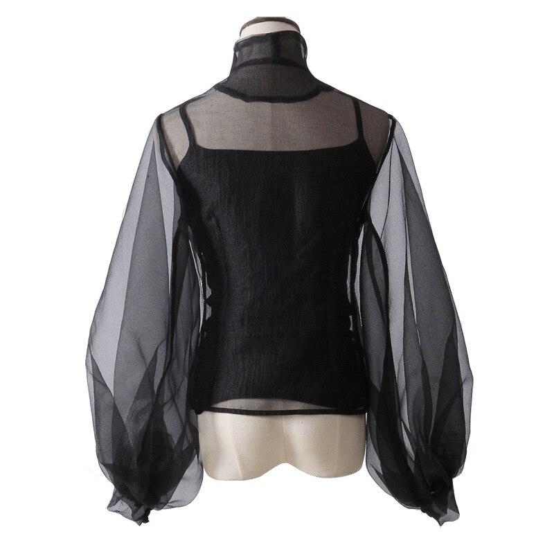Haute Tunique Lanternes Chemise Costumes Mode De Chemises Grandes Pour Taille Ajourée Manches Col Noir Tailles Femmes Garçon À Printemps Montant nSFvnx1