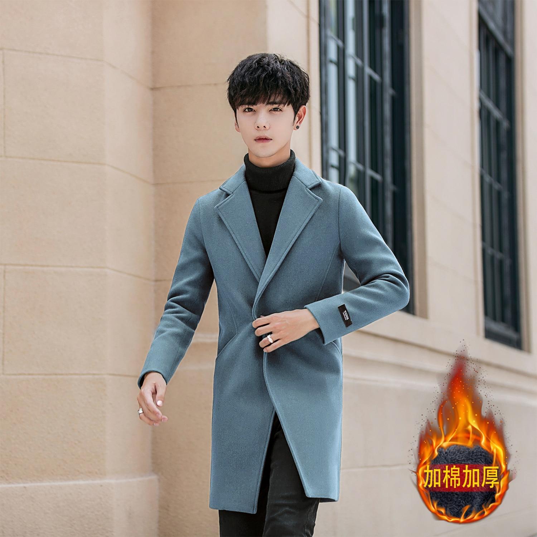 Autumn and winter new men's woolen coat, lapel trend Korean version of the slim men's long windbreaker thick warm jacket-in Wool & Blends from Men's Clothing    1