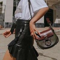Женская сумка с лямкой через плечо для 2018 пояса из натуральной кожи + замша сумка Элитный бренд дизайн заклепки Наплечные сумки пояса