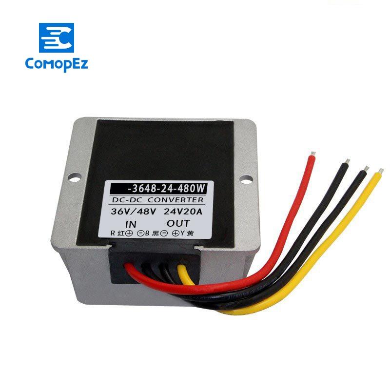 Convertisseur cc cc 36V 48V à 24V 20A IP67 convertisseur de tension d'alimentation 30-60V à 24V Buck abaisseur transformateur de Module pour les voitures de commutation