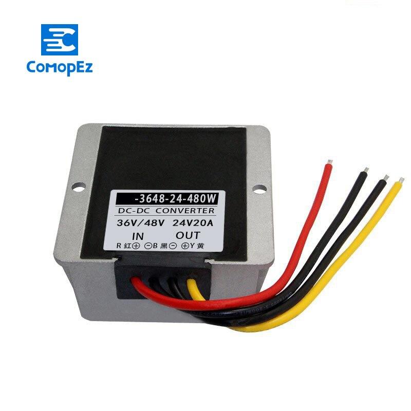 Convertisseur cc cc 36V 48V à 24V 20A IP67 convertisseurs de tension d'alimentation 30-60V à 24V Buck transformateur de Module abaisseur pour voitures de commutation
