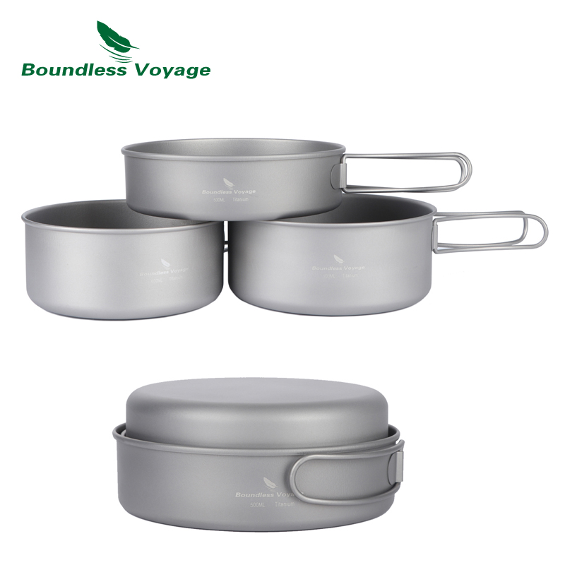 El juego de ollas Titanium de Boundless Voyage establece una olla de cocina para acampar al aire libre con utensilios de cocina para picnic que se pueden plegar Ti1575B-Ti1577B